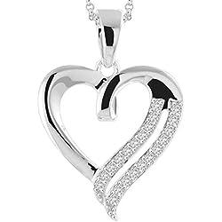 Peora Art of Love Diamond Cut CZ Pendant in 925 Sterling Silver White Gold Rhodium Finish for Women