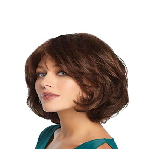 Perücke Frau Kopfbedeckung Kurzes lockiges Haar Große Welle mehrere Farbe 40cm