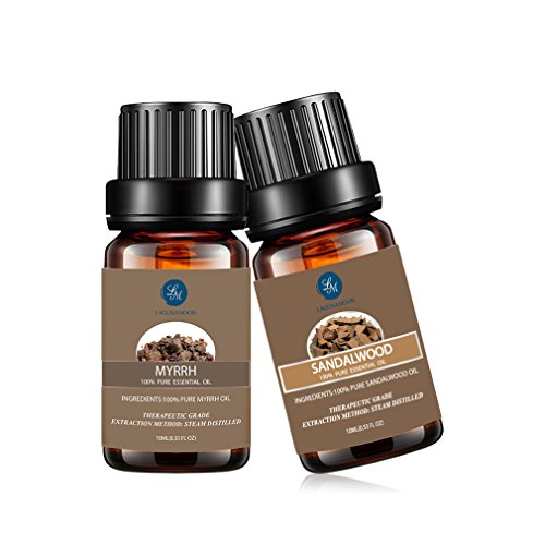 Lagunamoon 2pcs Kit Huile Essentielle Aromathérapie, (myrrhe&bois de santal) pour...