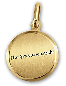 CLEVER SCHMUCK-GRAVUR Goldene Mini Gravurplatte Ø ca. 11 mm runde Form, matt mit glänzendem Rand 333 GOLD 8 KARAT