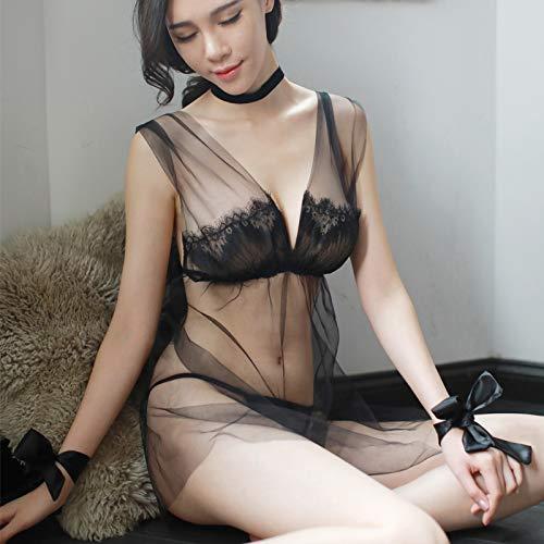 WXNLEAI Lencería sexy puta sexy pijama mujer hot adult sling camisón encaje tentación extrema estado de ánimo, talla única, rosa