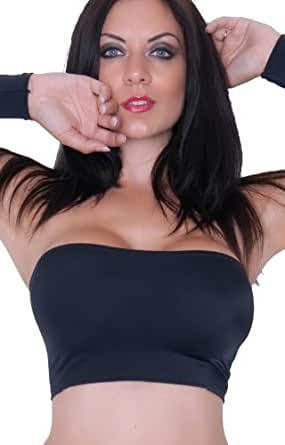 Size 4 (To Fit: 22-24 Inch Under Bust / 5-6 Inch Length) BM Black Lycra Boob Tube Bra No Support - Brand - 'Fantasy Store'
