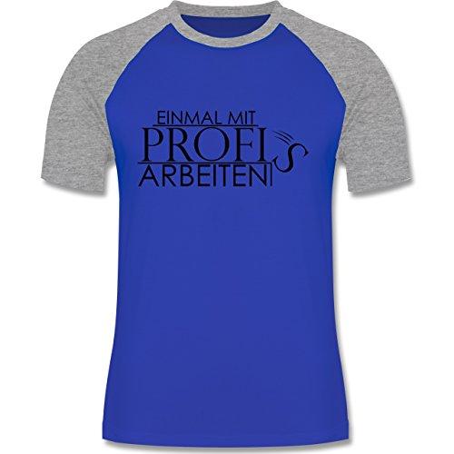 Designer - Einmal mit Profis - zweifarbiges Baseballshirt für Männer Royalblau/Grau meliert