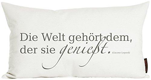 """Kissen ca. 30x50 cm Zitat """"Die Welt gehört dem,..."""" aus der Serie Zitate im angesagten Siebdruck (kuschelig gefüllt) Farbe Elfenbein 1 Stück"""
