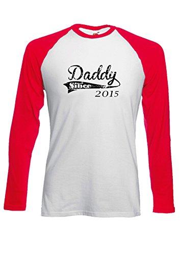 Daddy Since 2015 Dad Father`s Day New Born Novelty Black/White Men Women Damen Herren Langarm Unisex Baseball T Shirt Verschiedene Farben Rot