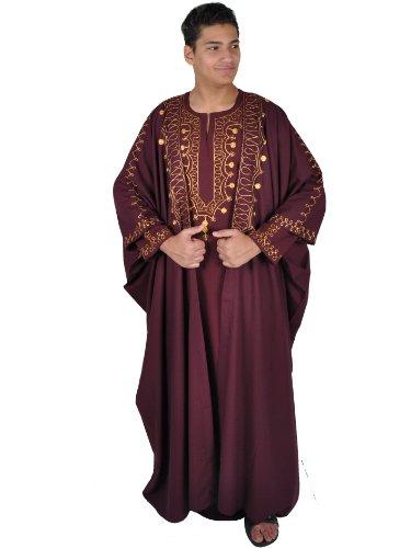 iges Araber Scheich Kostüm,Kaftan mit Umhang, Farbe: weinrot/Gold (68 (5XL)) ()