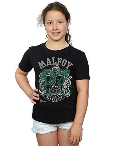 HARRY POTTER niñas Draco Malfoy Seeker Camiseta 5-6 Years Negro