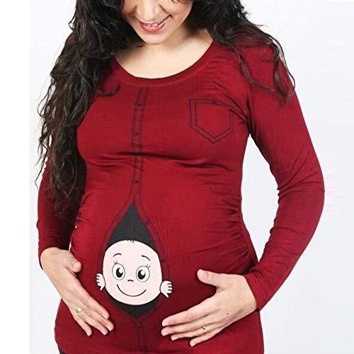Oyedens Frauen-Mutterschafts-Baby, das T-Shirt späht Lustiges Schwangerschafts-T-Stück, das Mutter-Oberseiten erwartetGröße Schwangere Frauen T-Shirt Lange ärmel niedlich ()