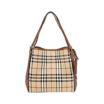 Image Unavailable. Image not available for. Colour  Burberry Small Canter  In Horseferry Check And Leather Honey Tan Tote Bag 6122cc4454cd6