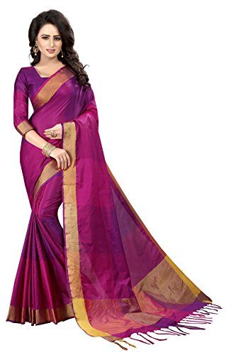 Perfectblue Women's Cotton Silk Saree With Blouse Piece(Pinkpurplebigzik_Pink Purple_Free Size)