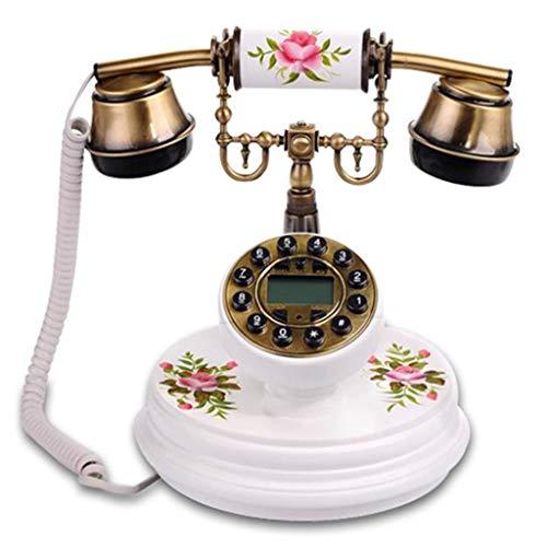 lie Wohnzimmer Dekoration Klassische Gravur Handbemalte Festnetztelefon (Farbe: Weiß) ()