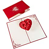 Pop-Up Karte 3D Herz zum Jahrestag - Handgemachte Hochzeitstag-Karte, Jahrestag-Karte für Frauen und Männer - Kreativer Liebesbeweis, Romantisches Geschenk für Sie und Ihn