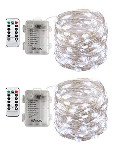 BXROIU 2 x50Leds Silbernedraht Micro Lichterkette Batteriebetrieb 8 Programm (Kaltes Weiß) -