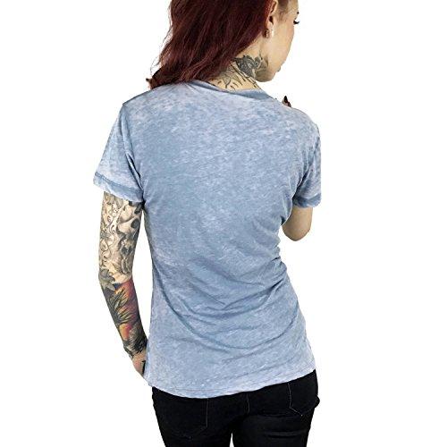 Yakuza Original Damen FxOff Burnout T-Shirt Smoke Blue