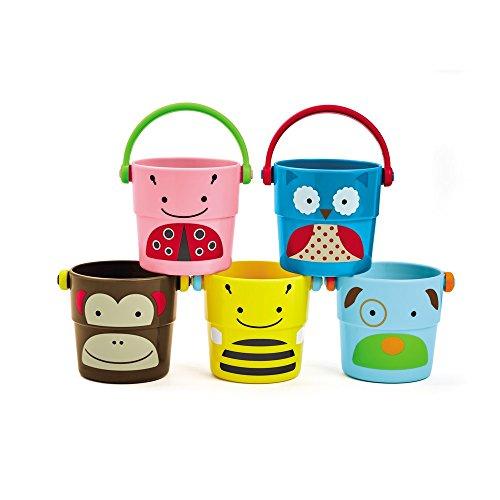 Skip Hop 235355 Zoo Bath - Stack & Pour Buckets - Badespielzeug kleine Becher zum Stapeln