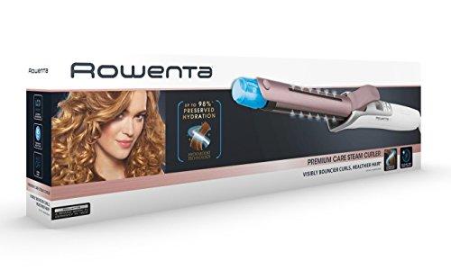 Rowenta Steam Curler CF3810 - Moldeador cabello de 25 mm, pantalla LCD, recubrimiento de cashmere Keratin y aceite de argán, hydraboost vapor, 8 temperaturas, iónico, temporizador integrado