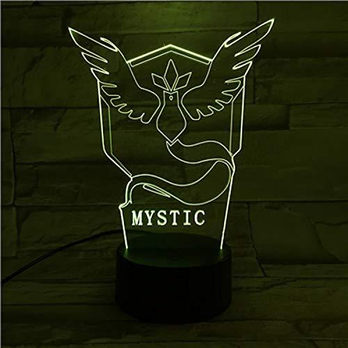 Team-logo-fälle (Optische Täuschungslampe Pokemon Go Team Mystic Logo 3d Nachtlicht LED Schlafzimmer Dekor Batterie Touch Schalter)