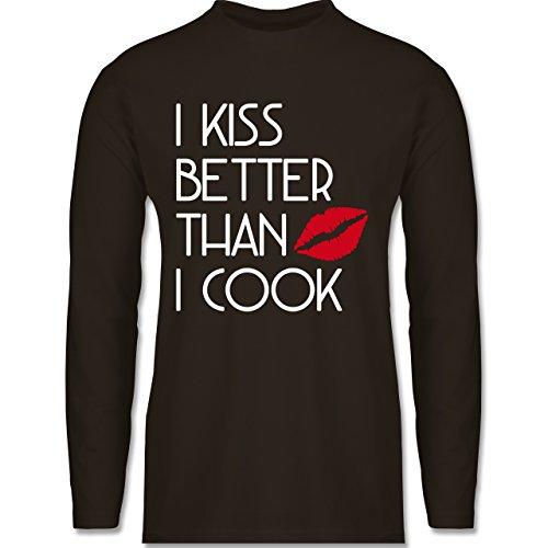Shirtracer Küche - I Kiss Better Than I Cook - Herren Langarmshirt Braun