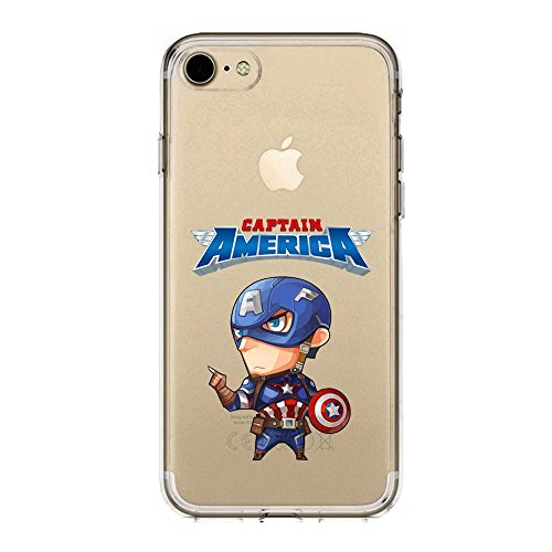 IP7Plus TPU Softcae Weiß Protective Schutzhülle Handycover Etui Bumper Staubdicht Telefon-Kasten Case Shell Abdeckung Bumper Back Cover, Sammlung Marvel DC, Spider Man, iPhone 7Plus Captain America