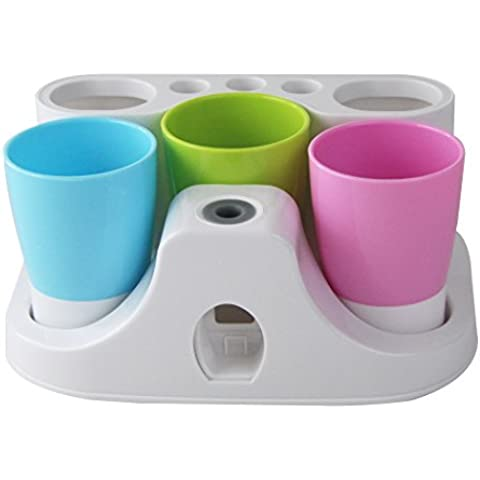 New Arrival Hands Free Toothpaste Dispenser Automatic Toothpaste Squeezer and Toothbrush Toothpaste Holder and Mug Stand Organizer Set with 3 Cups