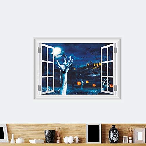 Kürbis Laterne Linke Hand Wandaufkleber Halloween Raumdekoration 3D Gefälschte Fenster Home Festival PVC Aufkleber Wandbild Kunst Poster Geschenk