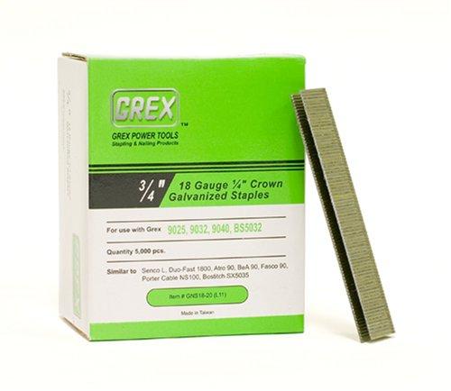 """Grex GNS 18–20 18 g 1/4 """"- Couronne - 3/4"""" Longueur galvanisé & (5000 agrafes Par boîte)"""