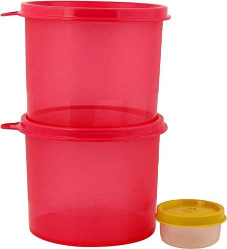 Tupperware store all 2 pic set of Pink color and midjet 30 ml - 600 ml Polypropylene Multi-purpose Storage Container (Pack of 3, Pink)  available at amazon for Rs.630