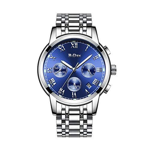 Relojes para Hombre, Relojes Reloj de Pulsera de Acero Inoxidable Plateado, Diseño de Lujo Dial Azul/Negro Fecha Calendario Relojes analógicos de Cuarzo Vestido de Negocios Causal (Azul)