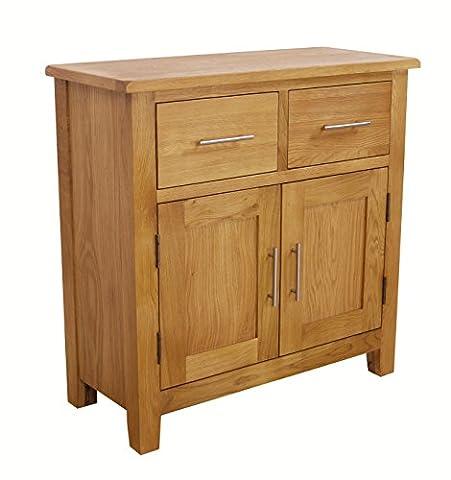 Nebraska Oak - Mini Sideboard / Small 2 Door 2 Drawer Storage Dresser Cupboard Cabinet Unit