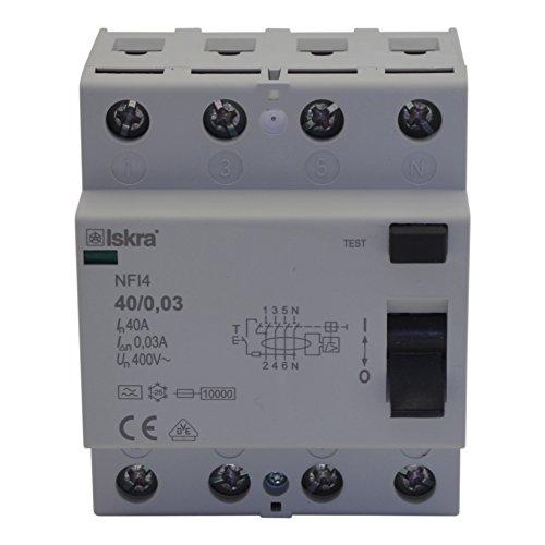 FI-Schutzschalter Fehlerstrom Schutzeinrichtungen Schutzschalter ECO-Line Typ A 40A 4-Pole 300mA 230/400V