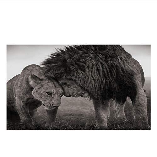 Cyalla Lions Head to Head Schwarz-Weiß Leinwand Kunst Malerei Poster Und Drucke Skandinavisches Bild Wandkunst Bild Für Wohnzimmer 80X135Cm (Weiß Und Halloween-nagel-kunst Schwarz)
