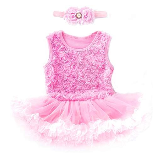 WUSIKY Tutu Sommerkleid 2 STÜCKE Kleinkind Baby Mädchen Sleeveless Flower Dress + Stirnband Outfits Set Prinzessin Kleid Geschenk für Kinder 2019 New Kid Tops(12-18M/80,Rosa) -