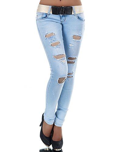 N384 Damen Jeans Hose Hüfthose Damenjeans Hüftjeans Röhrenjeans Röhrenhose Röhre, Farben:Blau;Größen:34 (XS) (Low Rise Stretch Hose Cord)