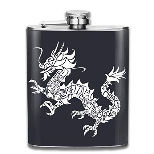 dfegyfr Men and Women Thick Stainless Steel Hip Flask 7 OZ Asian Dragon Silhouette Pocket Container for Drinking Liquor Rum
