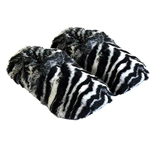 Thermo Sox aufheizbare Hausschuhe für Mikrowelle und Ofen - Mikrowellenhausschuhe Wärmepantoffeln Wärmehausschuhe Wärmeschuhe Fußwärmer Supersoft, Farbe:Zebra, Größe:36/40 EU