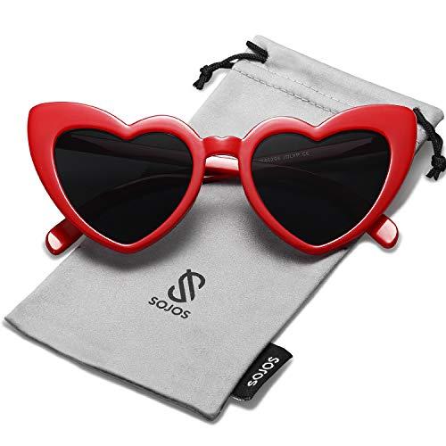 SOJOS Herz Sonnenbrille Clout Google Schick Design Herzform SJ2062 Rot Rahmen/Schwarz Linse