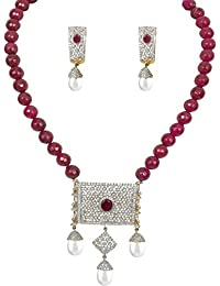 DS White And Red American Diamond Gold Plated Onyx Stone Beads Party Wear Necklace Set Pendant Set Mala Pendant...