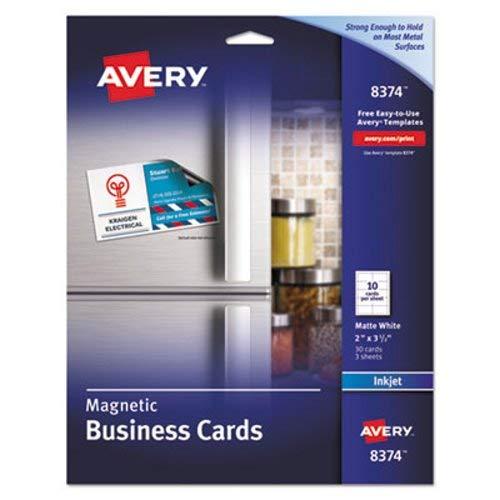 Avery–magnetische Visitenkarten, 2x 31/2, weiß, 10/Bogen, 30/Pack 8374(DMI PK (Dmi-bogen)