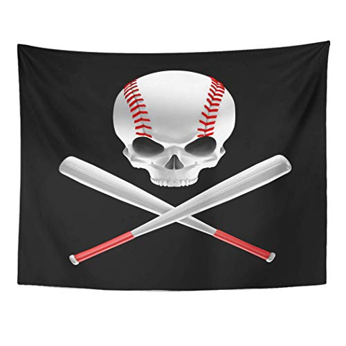 Red Skull Baseball (AOCCK Wandteppiche Wall Hanging Red America Baseball Skull and Bats 3D of Shaped Crossed Ball 60