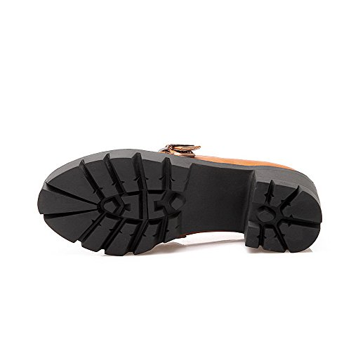 AllhqFashion Femme Tire à Talon Correct Pu Cuir Couleur Unie Rond Chaussures Légeres Brun