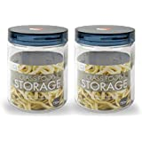 Lock & Lock Glass Canister Set, 750ml, Set of 2, White and Blue