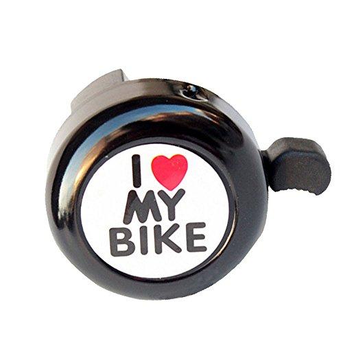 LEvifun Fahrradklingel Fahrrad Glocke I Love My Bike Radfahren Glocke Miniglocke Klingel Klingelton Bunt Wasserdicht (Schwarz)