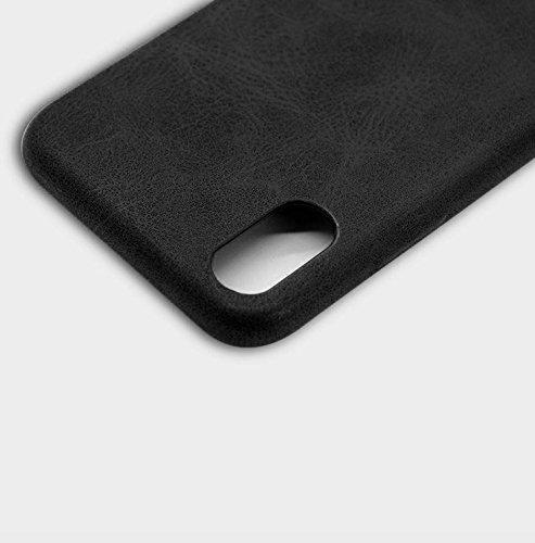 Apple iPhone X 10 Hülle ZaPro® Deutschland Qualitätsgeprüft   Im Einzigartigen Leder-Look Design   Komplett-Schutz   Leather   In 3 verschieden Farben   Elegant & Slim   Protective Case (Beige) Schwarz