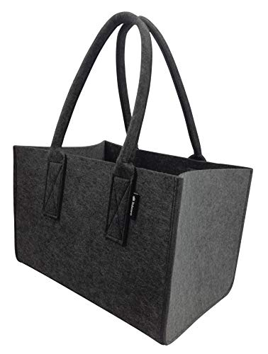 Tebewo Zweifarbige Shopper Filz-Stoff-Tasche, große Einkaufs-Tasche, Einkaufskorb, Faltbare Kamin-Holz-Tasche, Henkel-Tasche, Dunkel-/Hellgrau