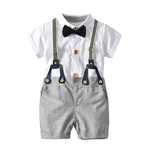 bobo4818 Baby Jungen Gentleman Outfits Anzüge, Kleinkind Kurzarm Shirt + Trägerhose + Fliege Overalls Kleidung Set (90)