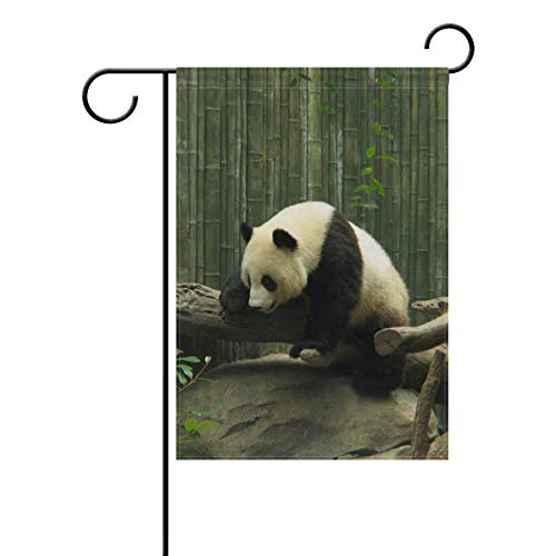 AMONKA Süße Panda-Flagge aus Bambus, Wald, doppelseitig, Polyester, Hofflagge für Zuhause, Haus, Außendekoration, 30,5 x 45,7 cm, Polyester, Multi, 12x18 Inch
