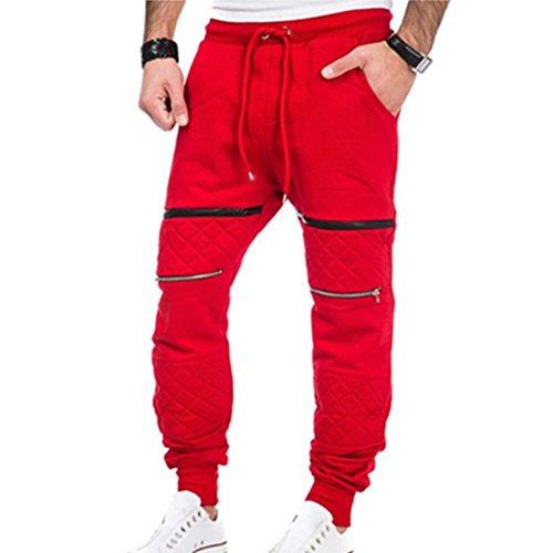 Herren Hiphop Hose Lang Jogger Chino Hose Sweatpants Gym Freizeit Sport Jogging Lange Trainingshose Slim Fit Sporthose Fitnesshose Rot 3XL junkai