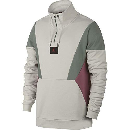 Nike Herren Flight Loop 1/4 Zip Long Sleeved T-Shirt, Light Bone/Vintage Lichen/Vint, M -