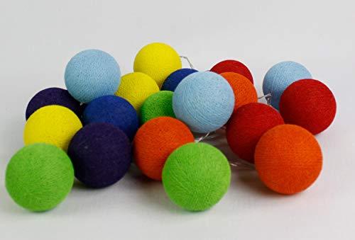 Cotton Ball Lights Rainbow 50, coton, rouge/Dutch Orange/jaune/vert clair/bleu clair/bleu royal/magenta