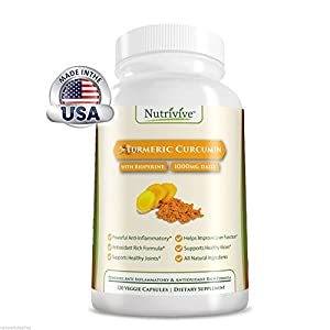 Nutrivive Turmeric Curcumin with Bioperine Supplement, 120 Veggie Capsules, Contains Black Pepper, Great for Inflammation and Joint Pain, Ayurveda, Safe for Vegans Premium Quality All Natural Pain Reliever, Anti-depressant, and More! Powerful Anti-inflamm